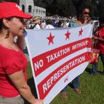 Amanda Frayer and Anita Hairston at a rally for DC Statehood