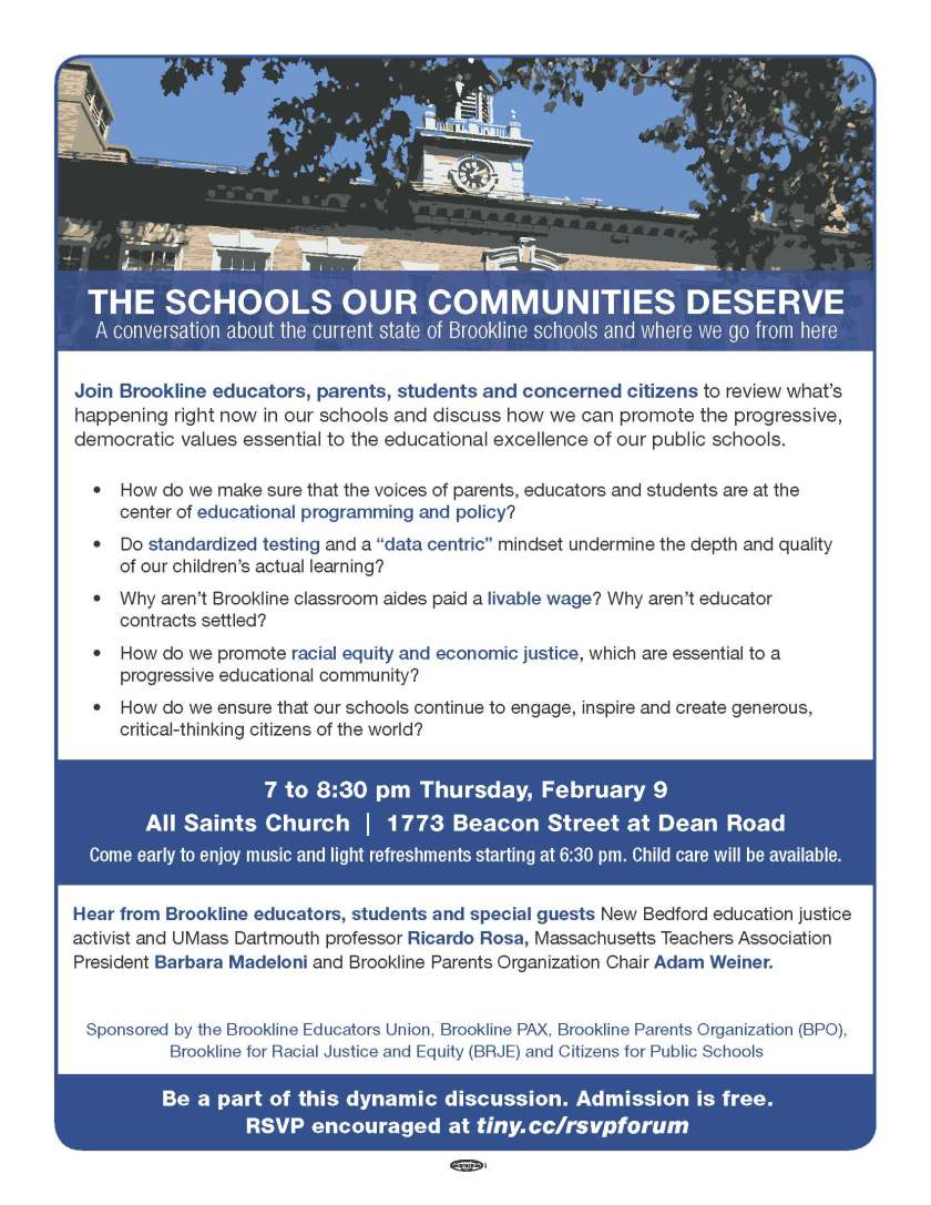 Public Forum on the Current State of the Public Schools February 9th!
