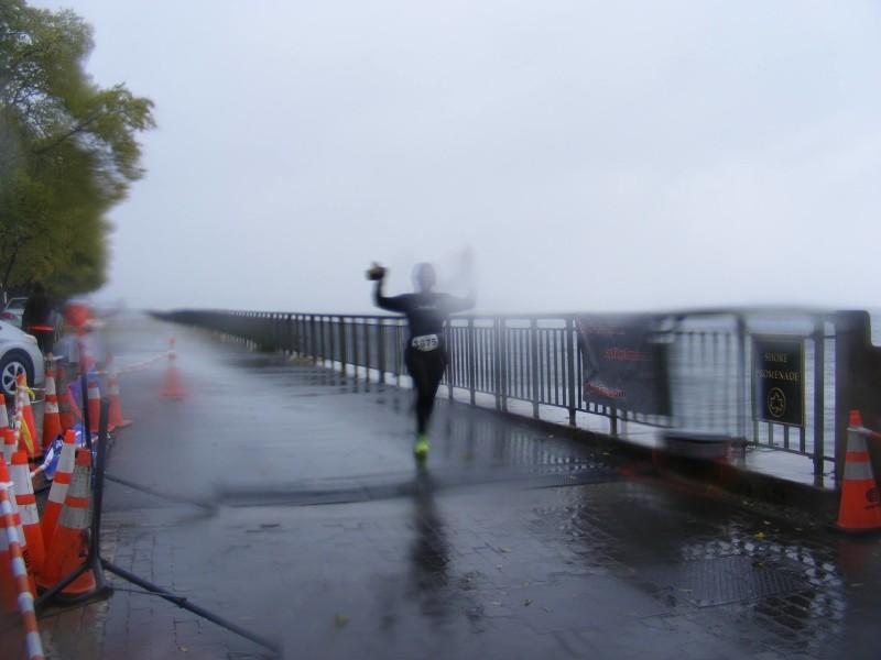through the sideways rain, I crossed the finishline of my first half