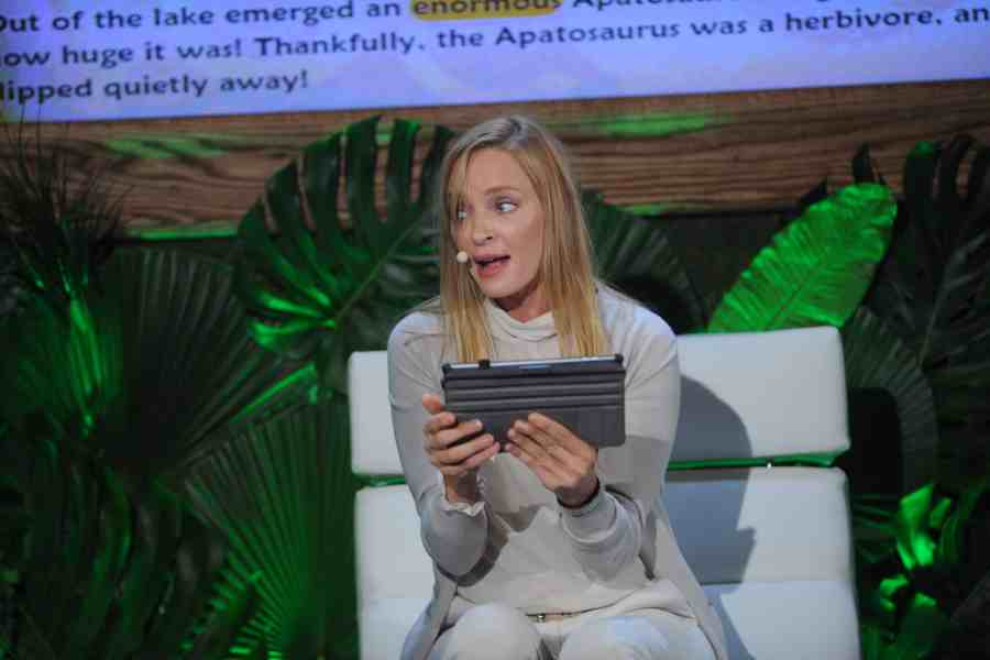 NEW YORK, NY - JULY 16:  Actress Uma Thurman speaks onstage at the launch of Dino Tales and Safari Tales at the American Museum of Natural History with Kuato Studios on July 16, 2015 in New York City.  (Photo by Brad Barket/Getty Images for Kuato Studios)