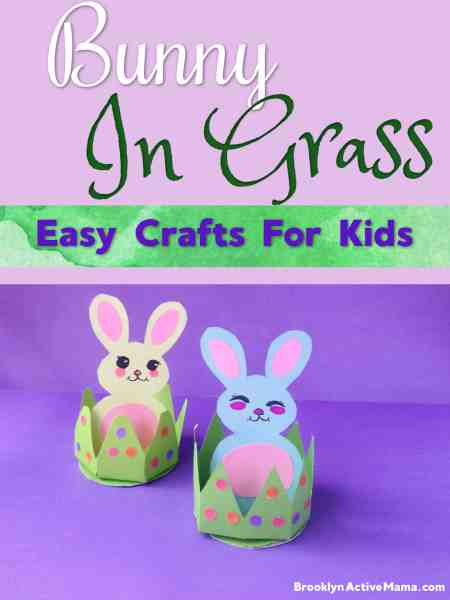 Easy Bunny In Grass Easter DIY Craft, Template and Step by Step Directions with Photos included!