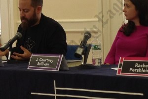 """Jess Row reads from his new novel, """"Your Face in Mine,"""" while novelist J. Courtney Sullivan looks on."""