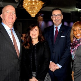 NYPD Commissioner James P. O'Neill, Award recipient CB 14 District Manager Shawn Campbell, FDNY Commissioner Daniel Nigro, and Assemblywoman Pam Harris. - Brooklyn Archive