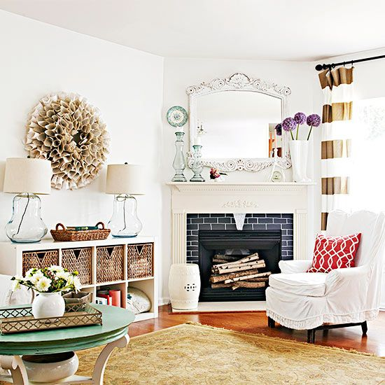 Arranging furniture with a corner fireplace brooklyn for Corner fireplace plans