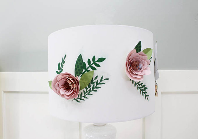 floral lamp shade inspired by antropologie using paper flowers | Brooklyn Berry Designs |