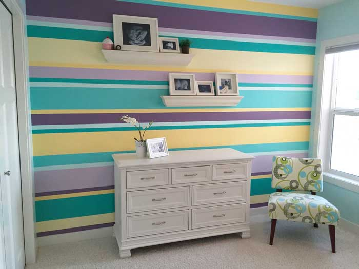 Creative Bedrooms striped girls room teal yellow purple