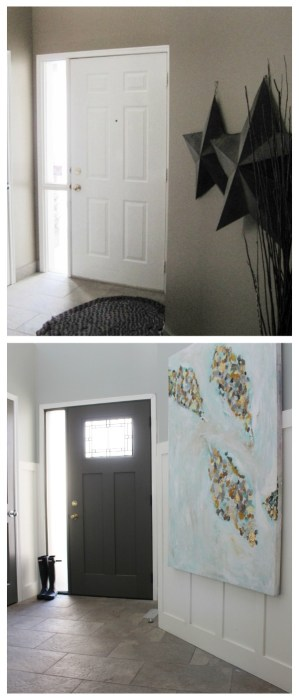 Before and after replacing a front door.