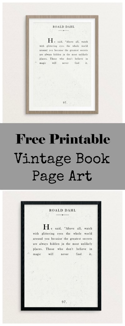 Free printable book page art