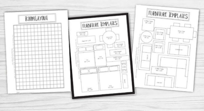 ... pages included in the free printable room planner - room layout and  furniture templates.