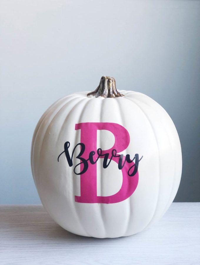 Tricks to making your own vinyl monogram pumpkin - Applying vinyl to a curved surface.