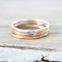 Hammered stacking rings in sterling silver, gold filled or rose gold filled