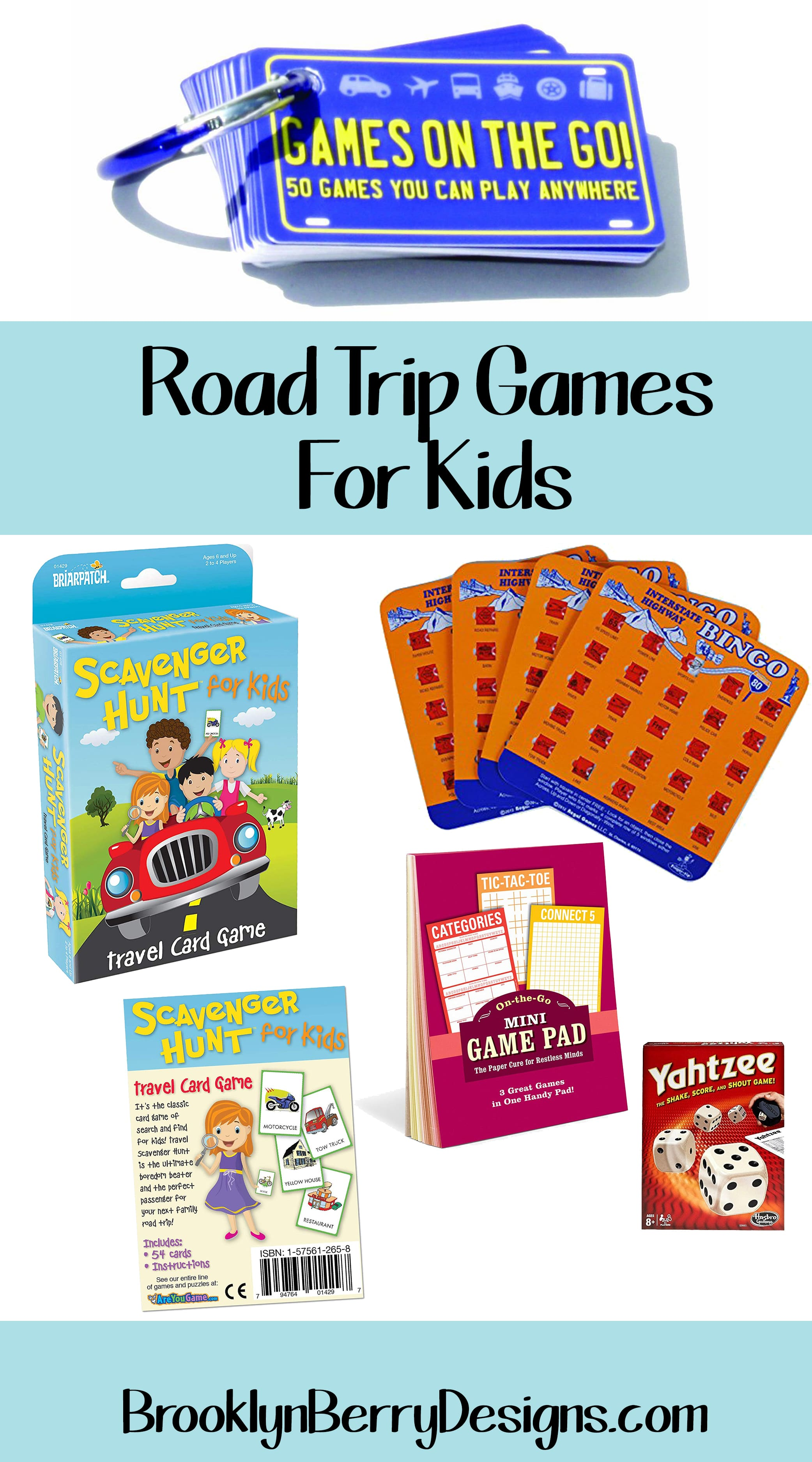 How do you keep kids entertained and happy on a family road trip - because you can only play I Spy for so long. Here are my family's tried and tested recommended best travel games for kids. #familytravel #roadtrip #travelgames #roadtripgames #kidsgames via @brookeberry