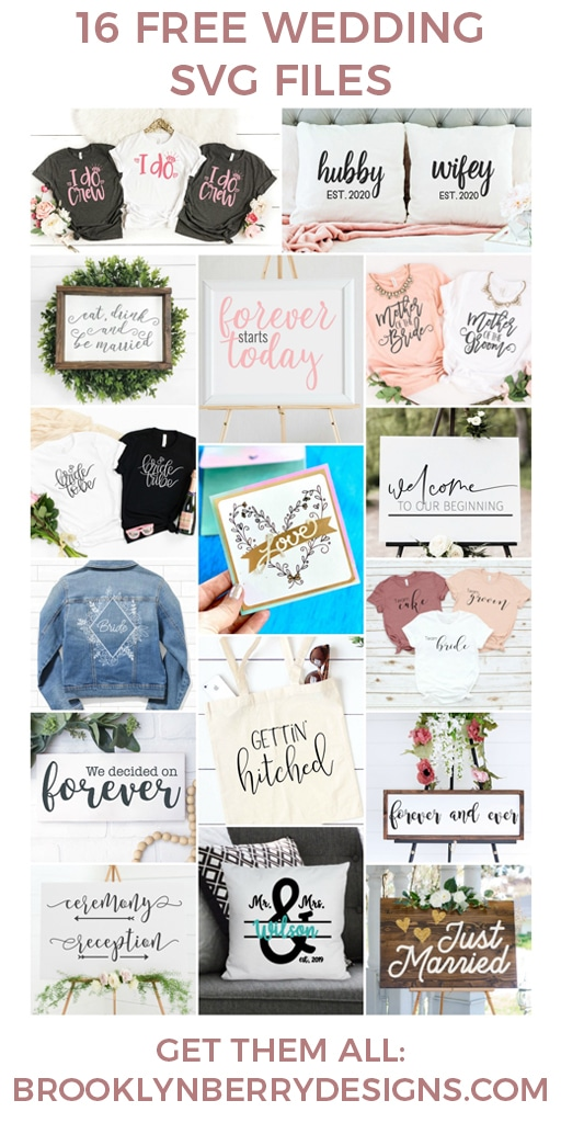 Make your own wedding decorations and gifts with these 16 free wedding svg files. Perfect for anyone with a Cricut or Silhouette machine. via @brookeberry