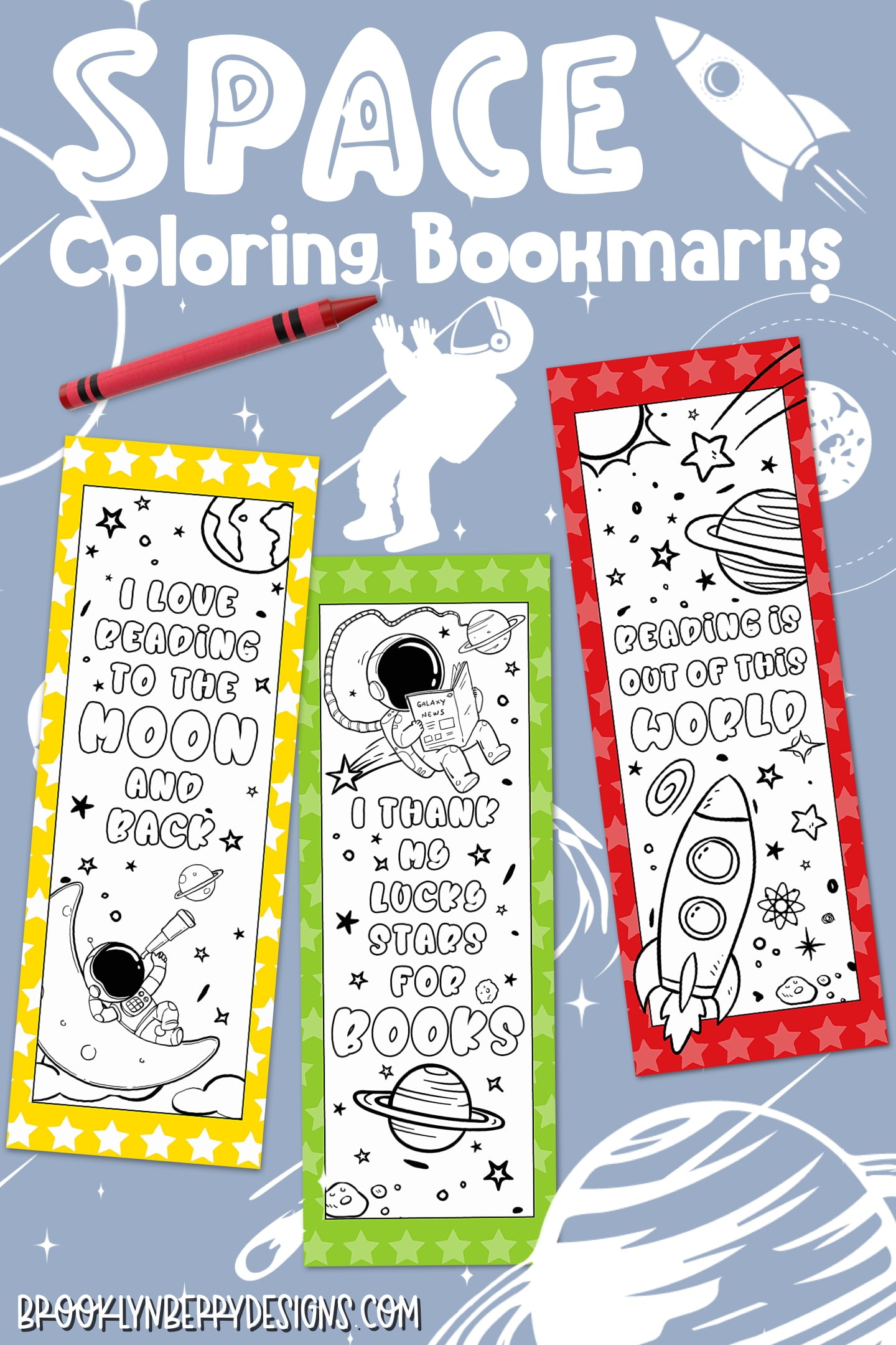 Free Space Coloring Bookmarks - great for keeping kids entertained while learning at home. via @brookeberry