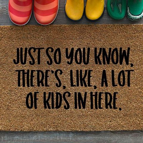 There's a lot of kids in here - free welcome mat svg