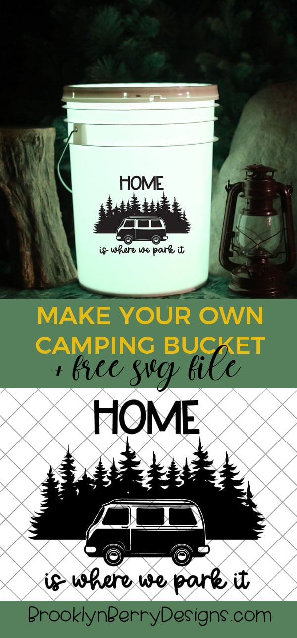 Make your own camping bucket - instructions and 14 free camping svg files included! via @brookeberry