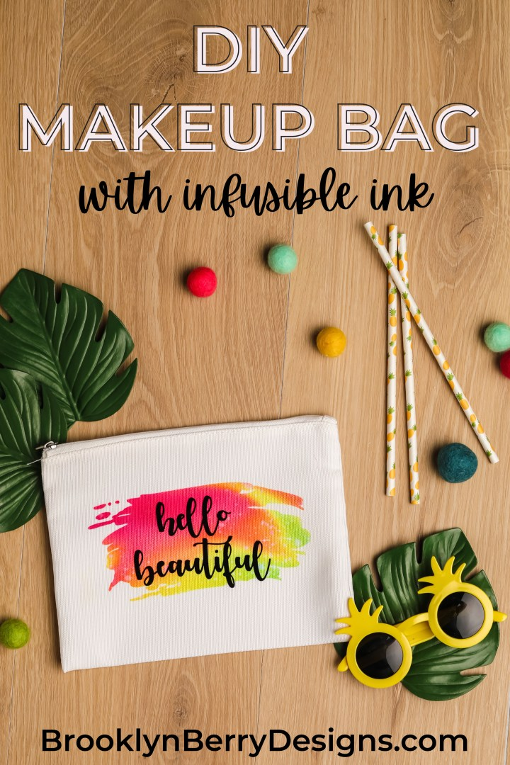 Infusible Ink Cosmetic Bag Tutorial - a super cute and easy DIY gift idea to make for all your friends. via @brookeberry