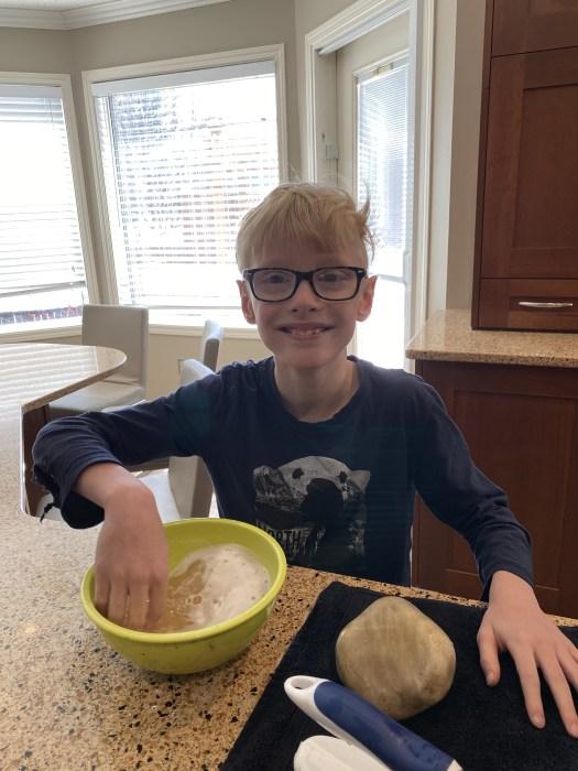 Washing rocks for this Hot Rocks Kids Craft