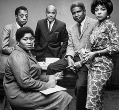 James Baldwin pictured with friends Odetta, Ralph Ellison, Ossie Davis and Ruby Dee. Photo courtesy of pinterest.com.