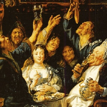 A painting of revelers drinking wassail and sharing food