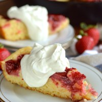 strawberry rhubarb skillet cake