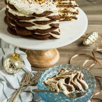 gingersnap icebox cake with maple mascarpone cream