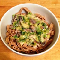 Mushroom Brussels Sprouts Alfredo
