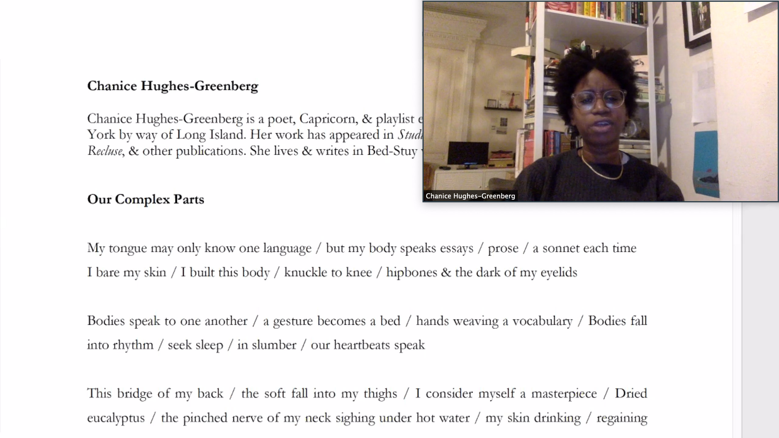 "Chanice Hughes-Greenberg reads ""Our Complex Parts"""