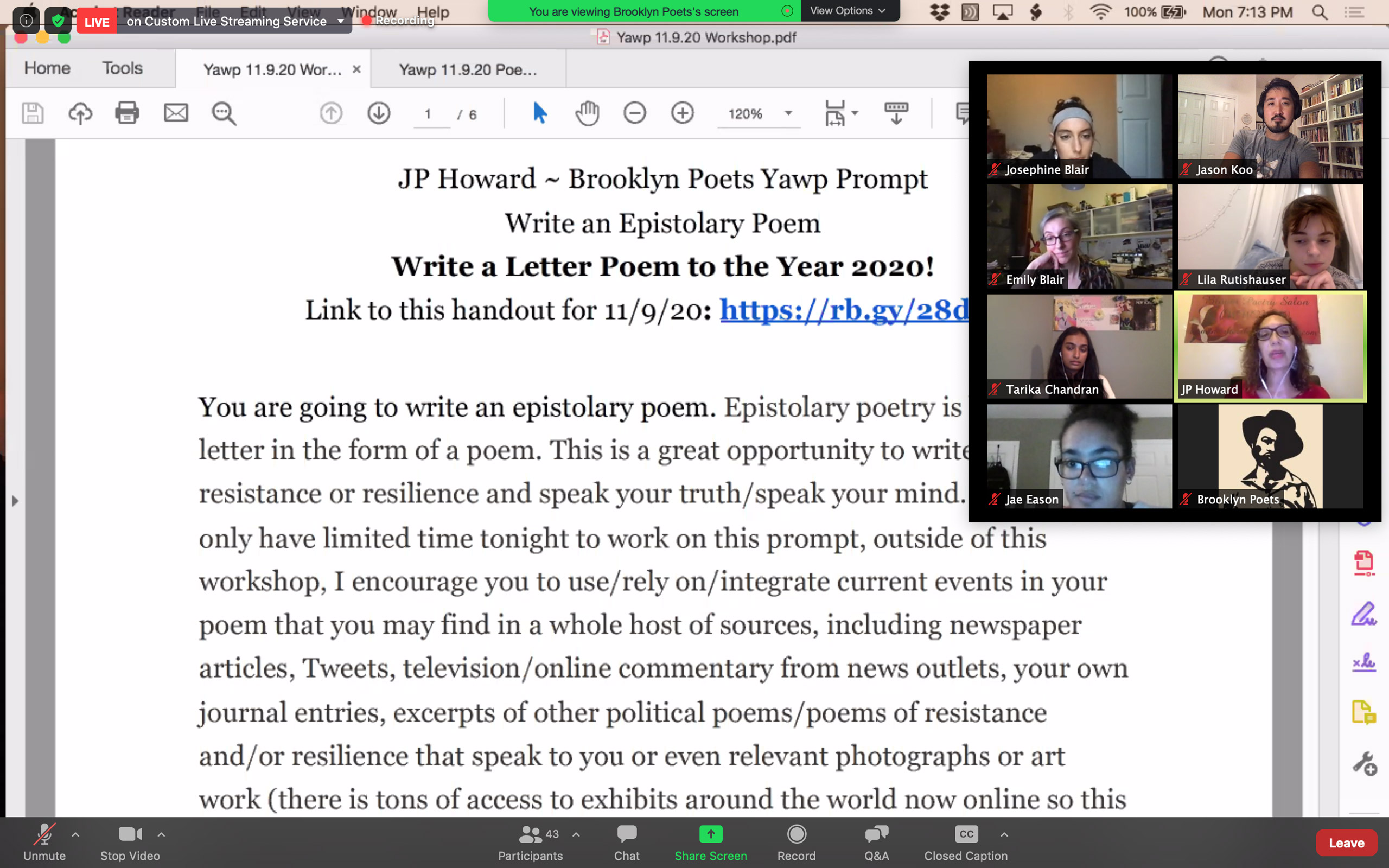 JP Howard leads the Yawp with an Epistolary Poem exercise