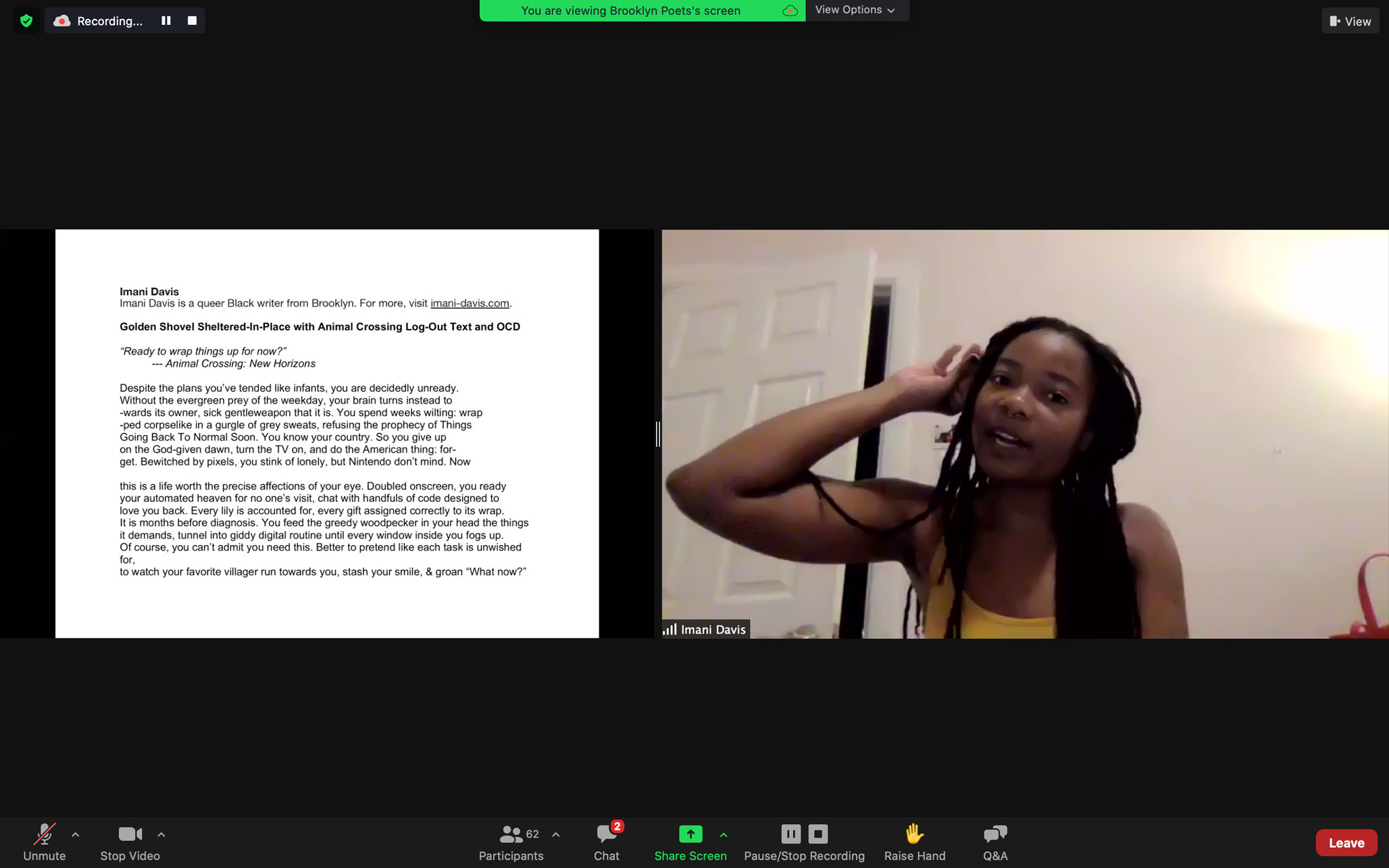 Imani Davis reads at Brooklyn Poets Workshop Showcase