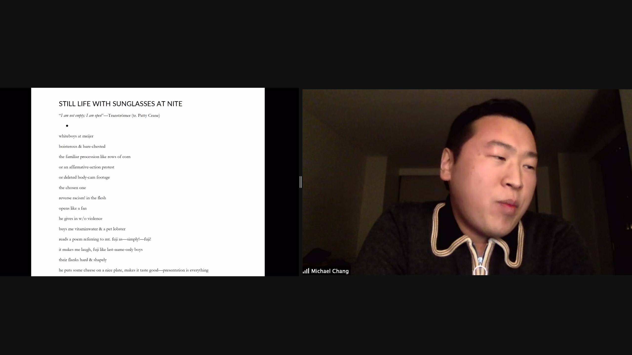 Michael Chang reads for Brooklyn Poets Reading Series