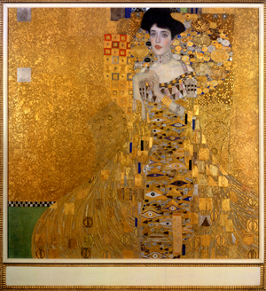 "Gustav Klimt, ""Adele Bloch-Bauer I"" (1907). Oil, silver, and gold on canvas. 55 1/8"" x 55 1/8"". Courtesy Neue Galerie, New York"