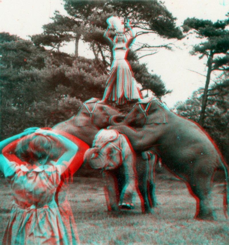 An anaglyph made from a VistaScreen stereoview taken by Stanley Long. Anaglyphs are a form of stereography which require filtered glasses to properly view.