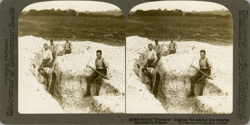 British soldiers digging second-line trenches, hence their relaxed poses. Wilfred Owen was on the front line. From my collection.