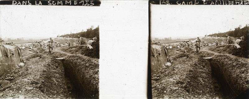 A typical trench at the Somme, presumably much like the one Wilfred Wilfred Owen was defending in early April. From my collection.