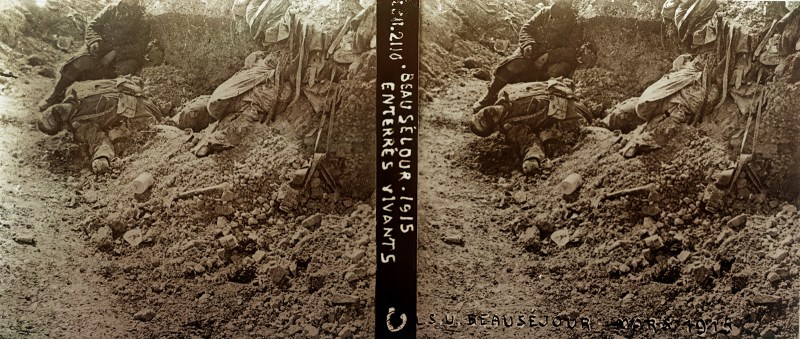 """Corpses of men killed by trench bombardment - but not in the sort of close quarters that Wilfred Owen had shared with what remained of """"Cock Robin"""". Courtesy of the Boyd/Jordan Collection."""