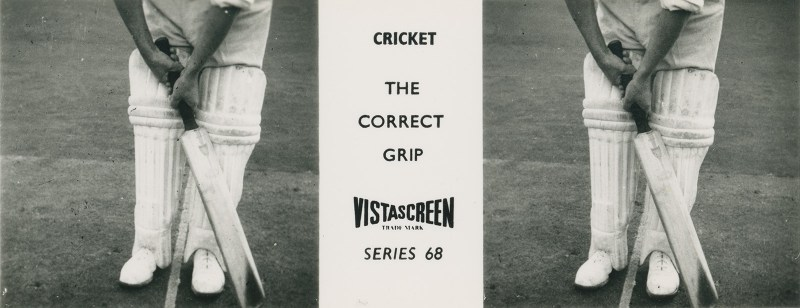 A VistaScreen stereoview in closeup, demonstrating the proper way in which to grip a cricket bat.