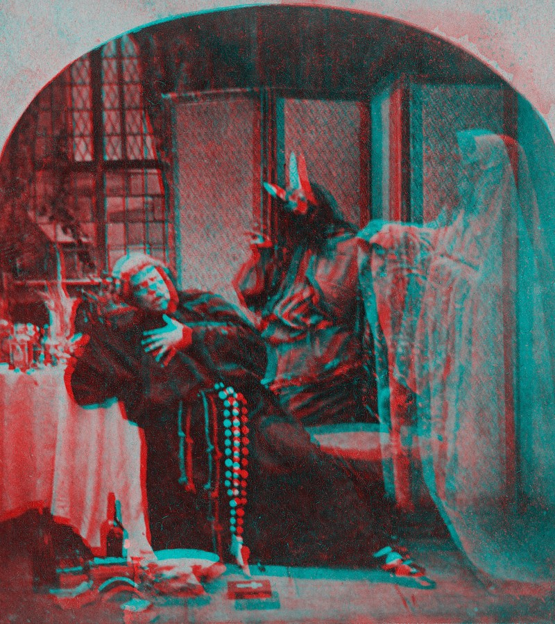 "An anaglyphic version of the genre stereoview ""Fast Day - A Horrible Intrusion""."