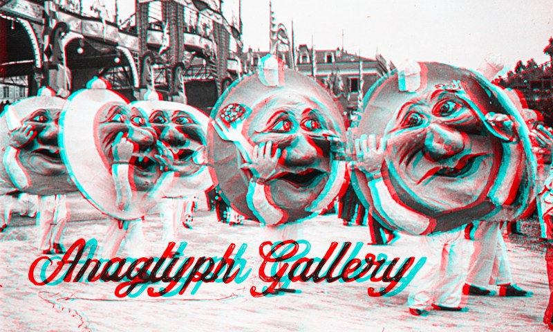 "An image from the ""1933 Carnaval de Nice"" series that is the header for the Brooklyn Stereography Anaglyph Gallery."