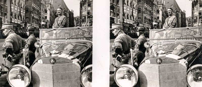 An image of Adolf Hitler in his enormous luxury car, well-guarded, in front of an adoring populace. N.B. Brooklyn Stereography does not condone Nazism in any form.
