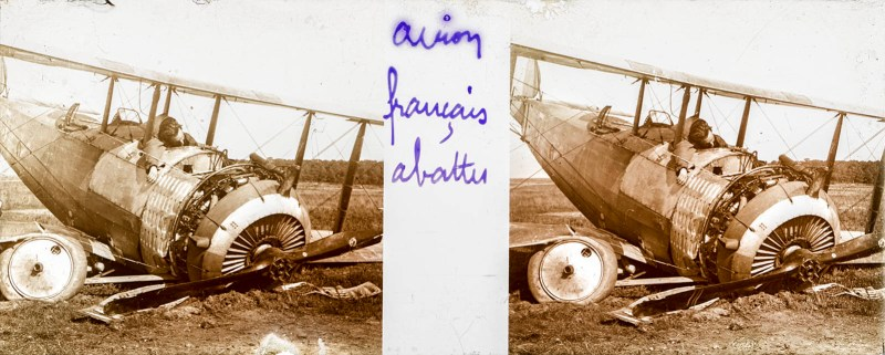 A Brentano's stereoview of a downed French plane
