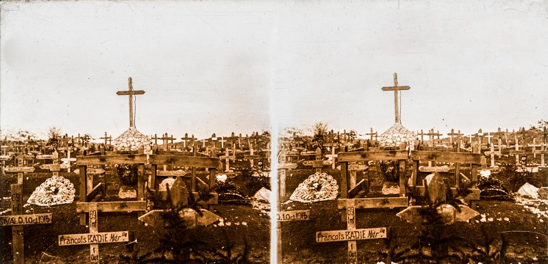 Birthday Post #5: A battlefield cemetery from Brentano's, with hastily made wooden crosses