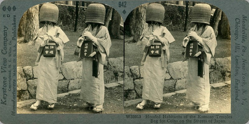 Hooded Habitants of the Komoso Temples Beg for Coins on the Streets of Japan