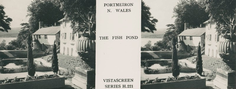 VistaScreen's view of the fish pond in Portmeirion