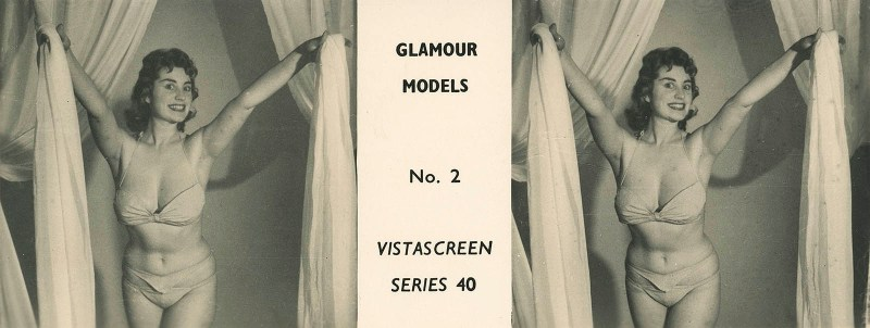 """A pin-up stereoview taken by Stanley Long for VistaScreen Series 40 """"Glamour Models No. 2 - A bevy of British Beauties""""."""