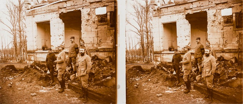 European amateur glass stereoview depicting five men posing next to a ruined building