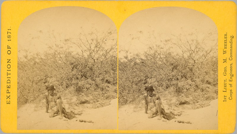 "A T. H. O'Sullivan stereoview which claims to be of Nee-chi-qua-ra, a ""good specimen of the Mohave type"", but who could actually belong to any number of indigenous peoples, being that we can't trust the captions!"