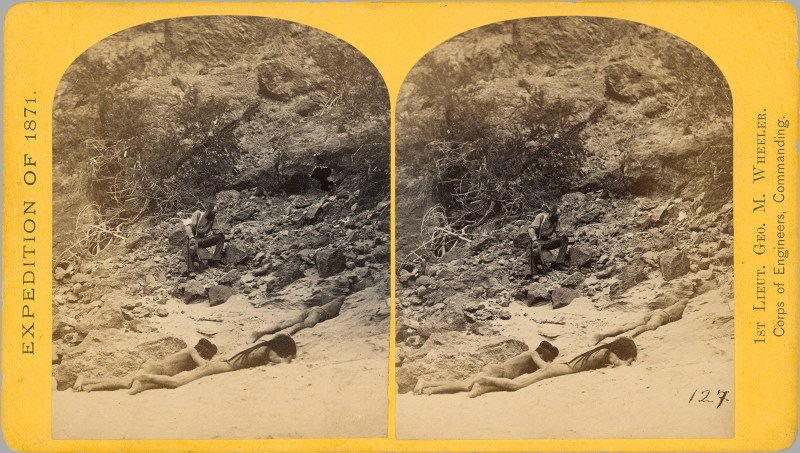 "A T. H. O'Sullivan stereoview depicting two ""Mojave"" (unknown indigenous peoples) napping. Wheeler expedition of 1871."