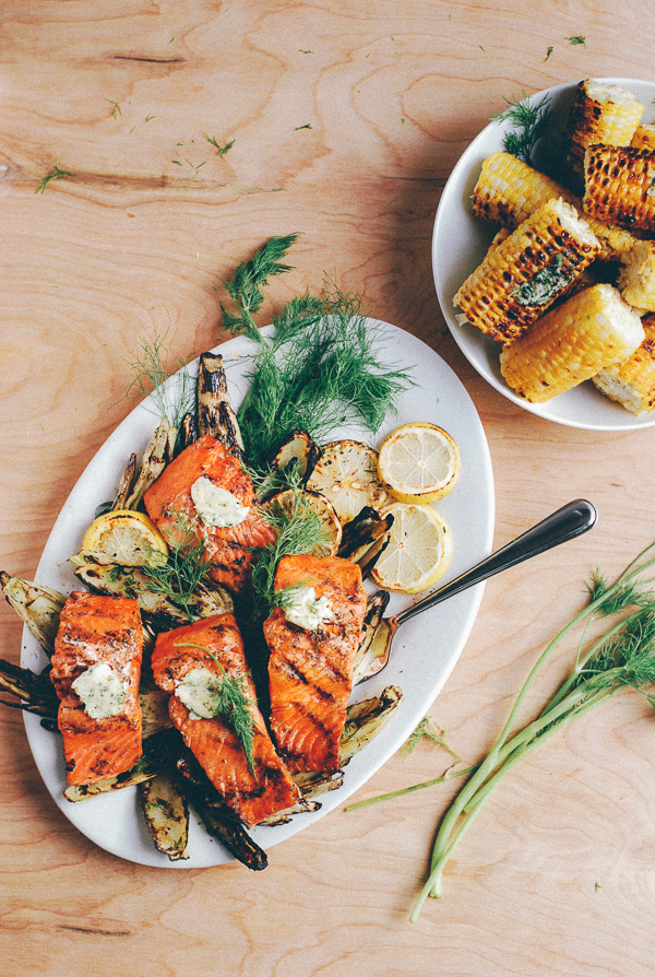 Grilled Salmon, Fennel, and Corn with Dill Butter