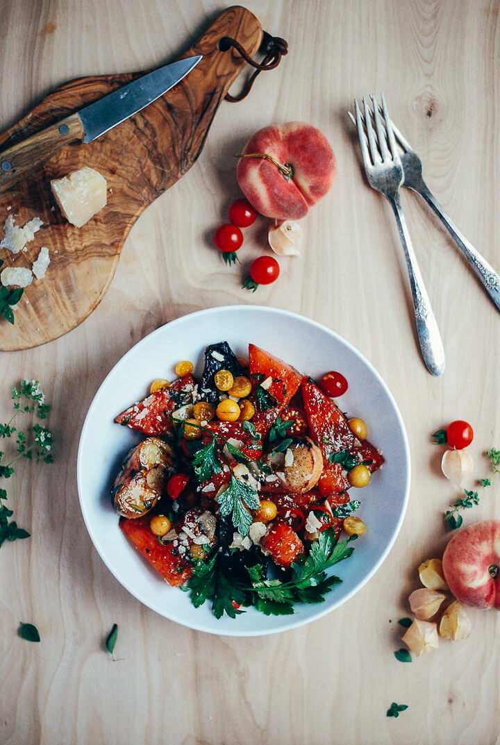 grilled watermelon and donut peach salad with balsamic reduction // brooklyn supper
